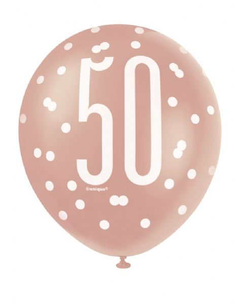 Glitz Rose Gold Age 50 Latex Balloons (6)